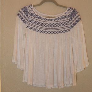 White Gap Blouse with Blue Stitching